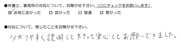 分かりやすく説明して下さって安心してお願いできました(福岡県大川市:男性)