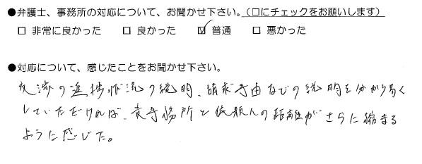 交渉の進捗状況の説明、請求事由などの説明(福岡県福岡市:男性)