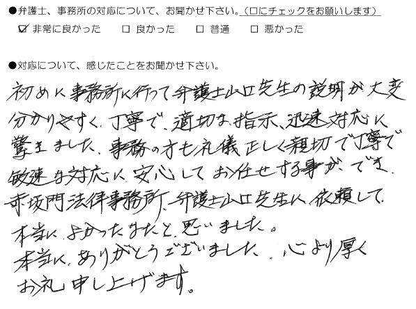 適切な指示、迅速対応に驚きました(福岡県飯塚市:男性)