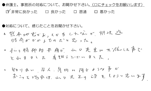精神的苦痛が山口先生にお願いした事で取れました(熊本県熊本市:男性)